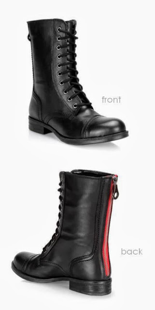B2 boots with red zipper