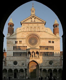 The facade of Cremona's Romanesque cathedral
