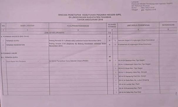 Formasi CPNS Kabupaten Pasaman Timur 2018