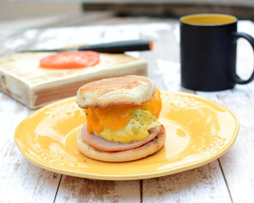 Homemade Egg McMuffin ♥ KitchenParade.com, how to cook an egg or two in the microwave, creating a tender, tasty round just the right size to tuck into an English Muffin with melty cheese and Canadian bacon. Workday Easy. High Protein. Kid Friendly.