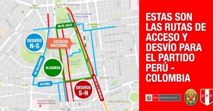 PERÚ - COLOMBIA: Conoce las vías que estarán cerradas por partido en Estadio Nacional