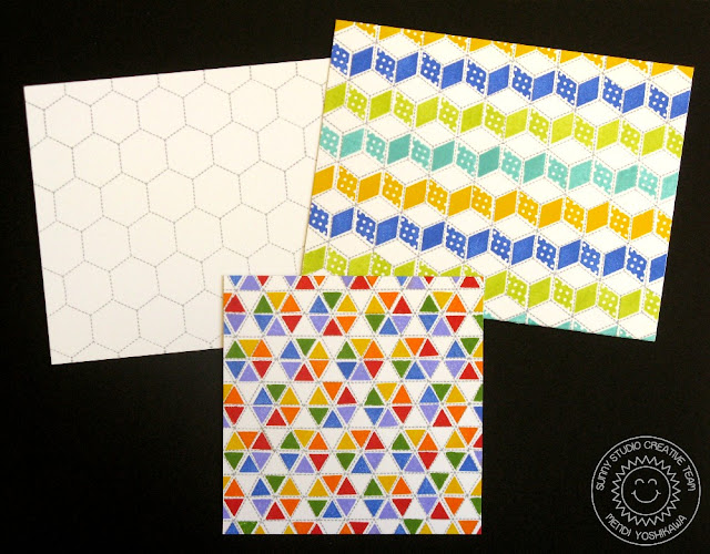 Sunny Studio Stamps: Quilted Hexagons Triangle and Diamond Background Building Patterns