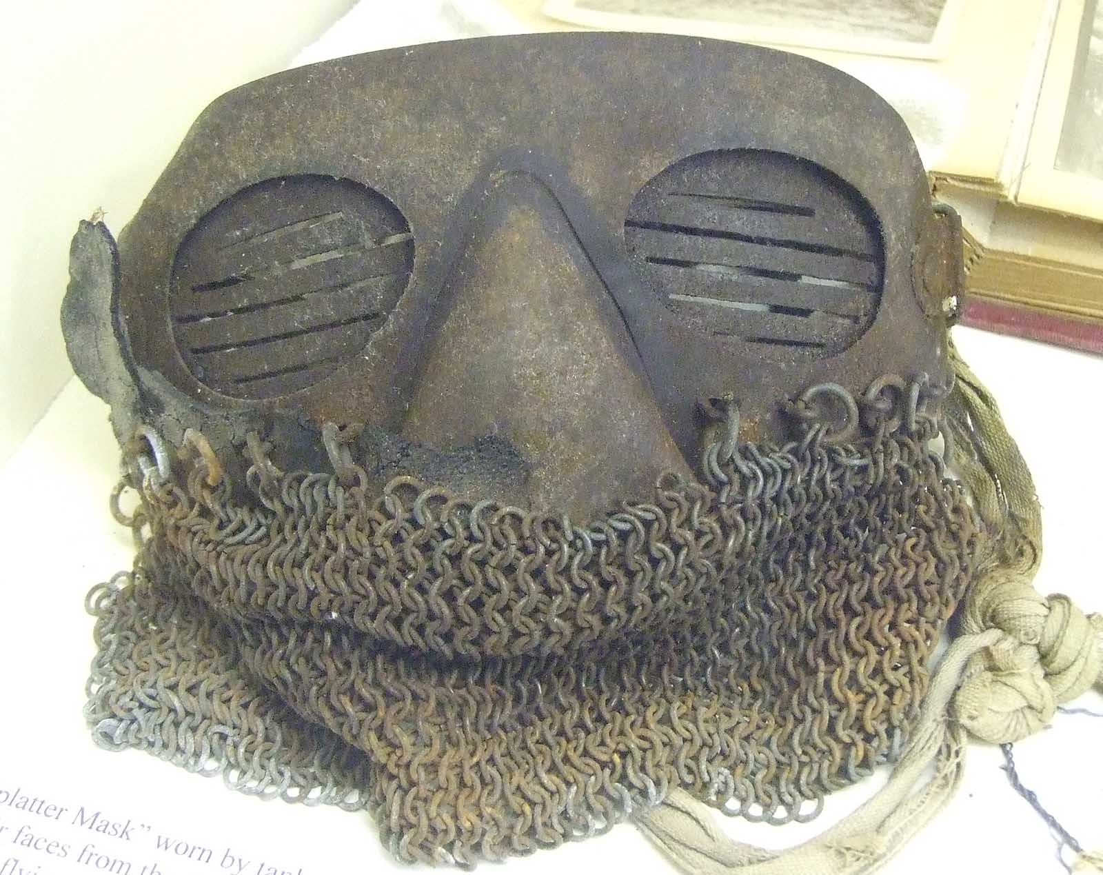 A surviving splatter mask in a British museum.