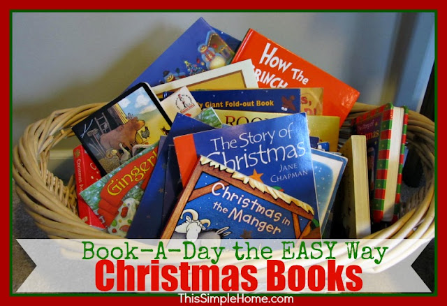 Children's Christmas Books in Basket for December
