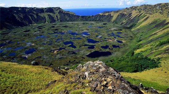 vulcão na ilha de pascoa