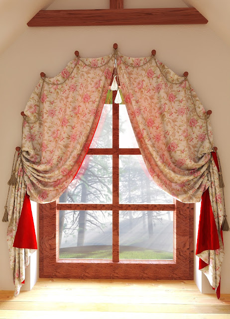 arched window treatments: floral curtain designs