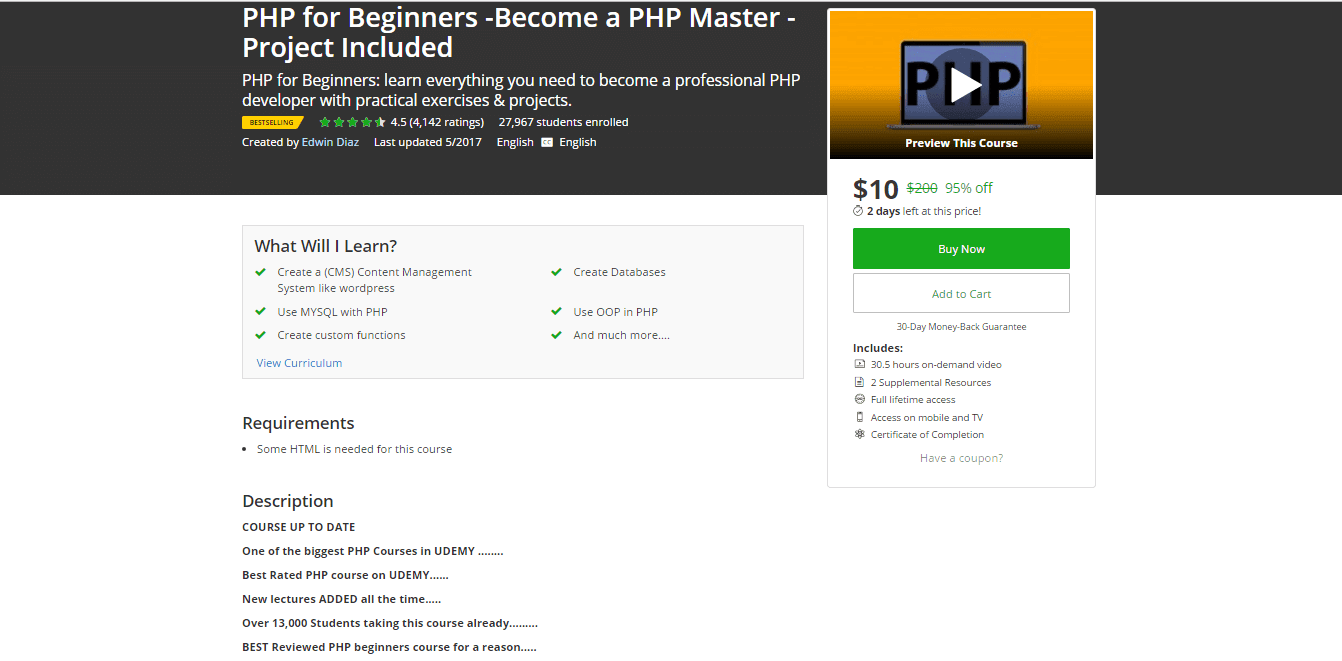 UDEMY - PHP FOR BEGINNERS - BECOME A PHP MASTER Full Course Free