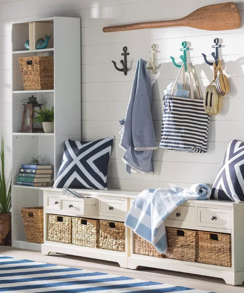 Nautical Entryway with Anchor Hooks Storage Ideas