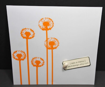 steel magnetic dry erase board with orange dandelions