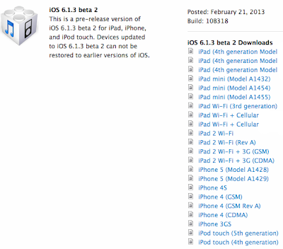 iOS 6.1.3 Beta 2 IPSW Firmwares for iPhone iPad iPod