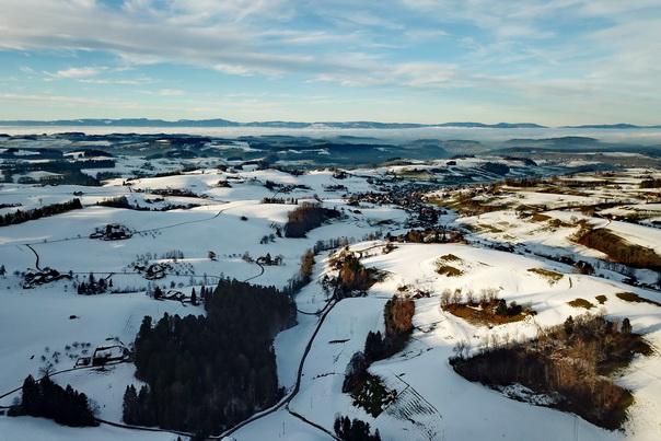 Emmental, Landschaft, Luftbild, Drohne, Schnee