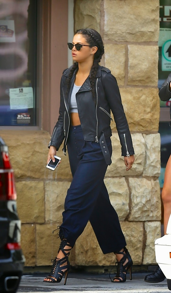 Selena Gomez spotted in a cropped top and leather jacket out and about in LA