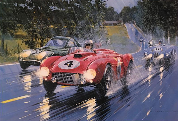 Le Mans 1954 print by Nicholas Watts, autographed by 5 drivers, available at l'art et l'automobile.