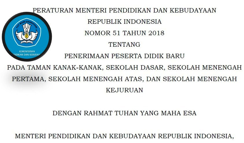 Menerbitkan Peraturan Menteri Pendidikan Dan Kebudayaan Nomor  Tentang Penerimaan Peserta Didik Baru Pada Taman Kanak Kanak Sekolah Dasar