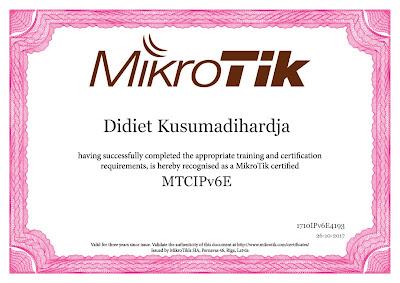 Sertifikat Ujian MTCIPv6E Didiet