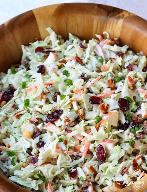 Take your coleslaw to a whole new level with sweet, tangy cranberries and crunchy pecans. Mix in an apple and some savory, green onions then toss them all in a creamy dressing for a dish that will be a favorite at any gathering! For years I've loved this crunchy slaw. I've eaten it at church