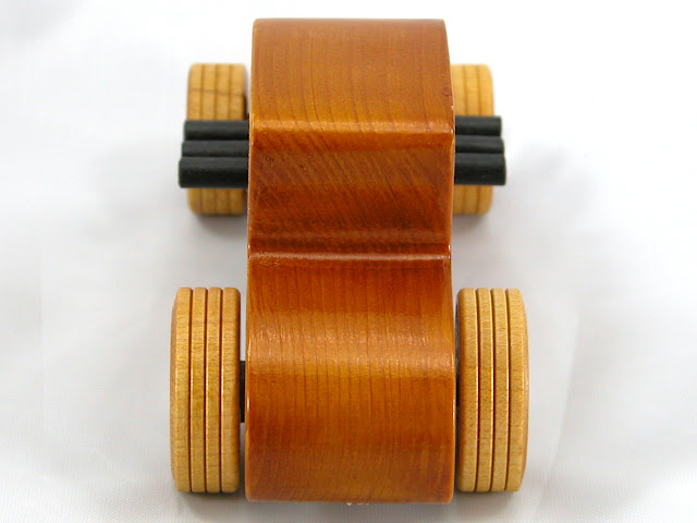 Top Rear -  Wooden Toy Car - Hot Rod Freaky Ford - 27 Coupe - Pine - Amber Shellac - Metallic Purple Hubs