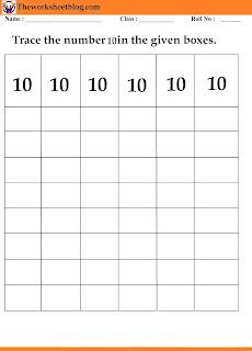 number 10 tracing worksheet