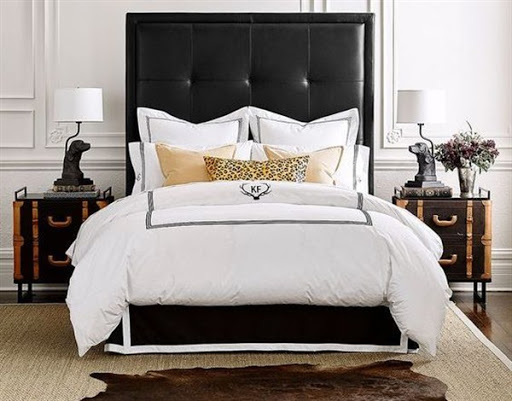 bed with leather headboard