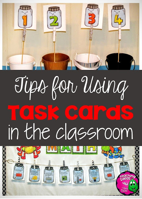 3 Quick Tips for Using Task Cards - Are you looking for new ways to use task cards in your classroom? Post describes three ways to use task cards as a center activity.