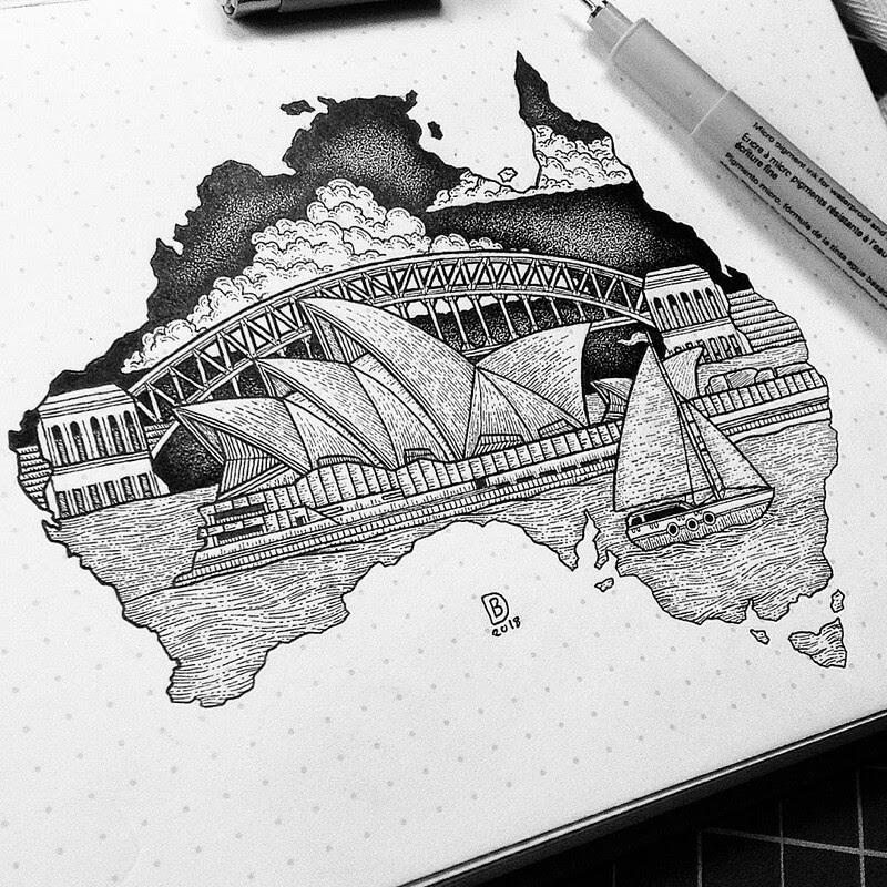 04-Sidney-Opera-House-Dylan-Brady-Stippling-Drawings-in-Ink-www-designstack-co