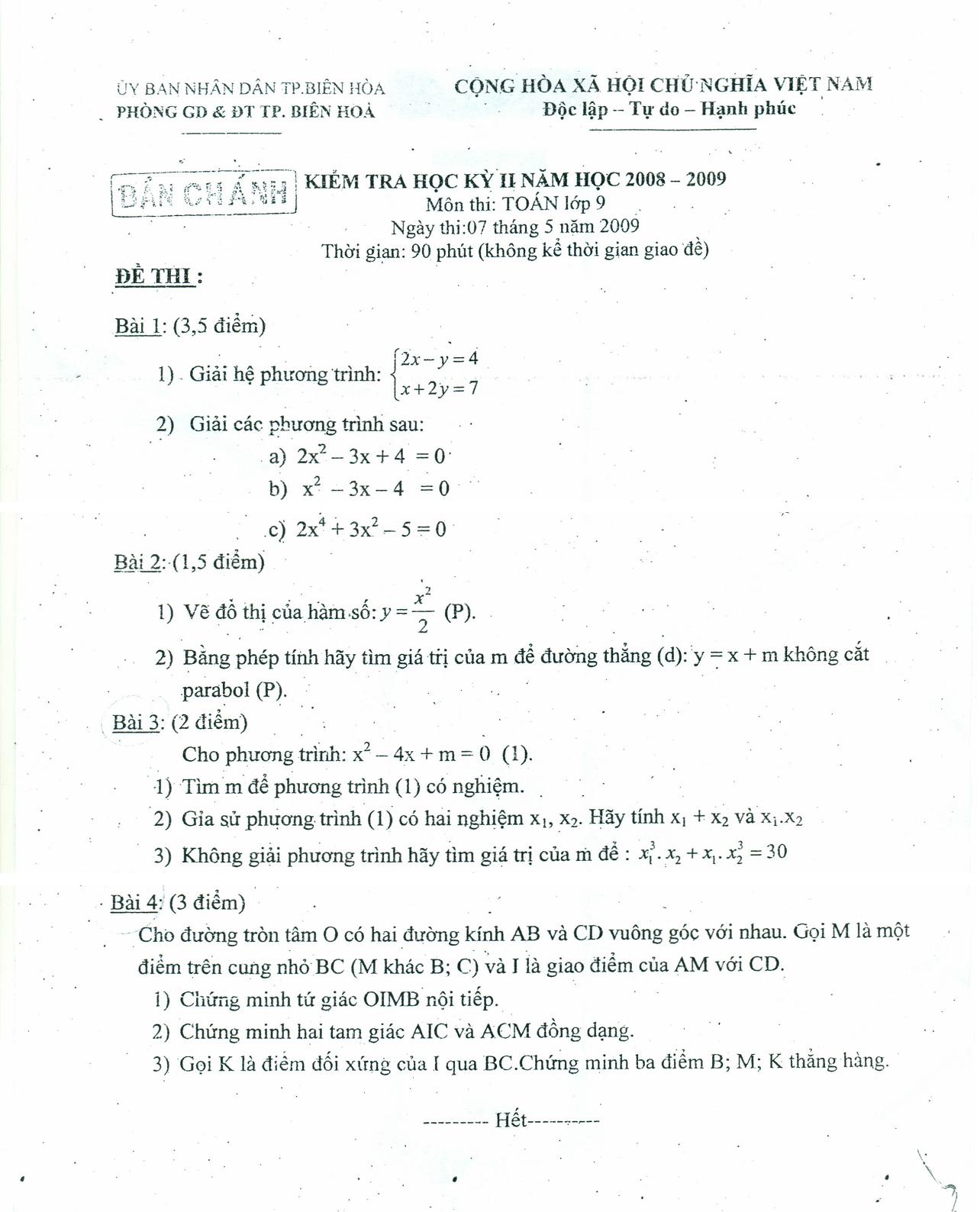 Đề thi học kỳ 2 môn toán lớp 9 tỉnh Đồng Nai năm 2009