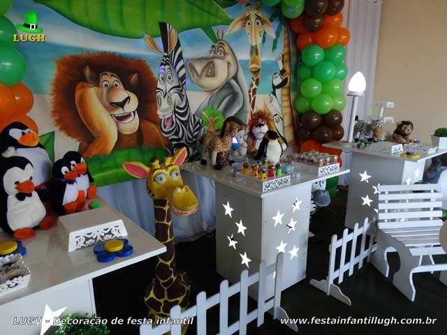 Decoração de festa infantil Madagascar - Aniversário