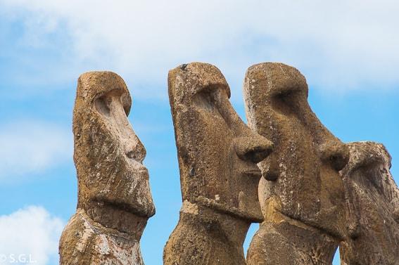 Ahu Tongariki. Detalle de Moai en Isla de Pascua