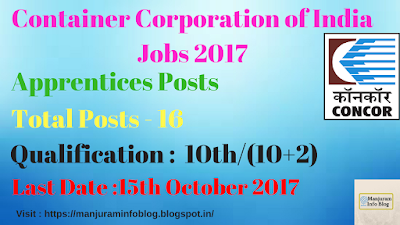 Container Corporation of India Ltd Recruitment 2017 - Apprentices Posts