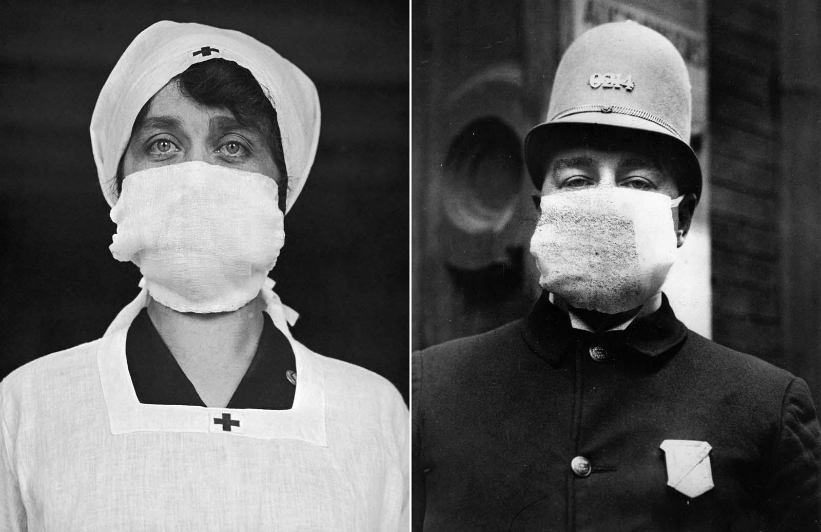 Direita: Um funcionário da Cruz Vermelha dos EUA usa uma máscara facial na tentativa de ajudar a diminuir a propagação da gripe.  1918. Esquerda: Um policial americano usa uma 'máscara de gripe' para se proteger do surto de gripe espanhol que se seguiu à Primeira Guerra Mundial. 1918.