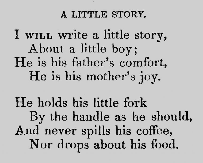 from an 1856 schoolbook, a good boy drinks his coffee