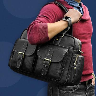 Morral tipo maletin con asas de estilo clásico para uso urbano o viajero.