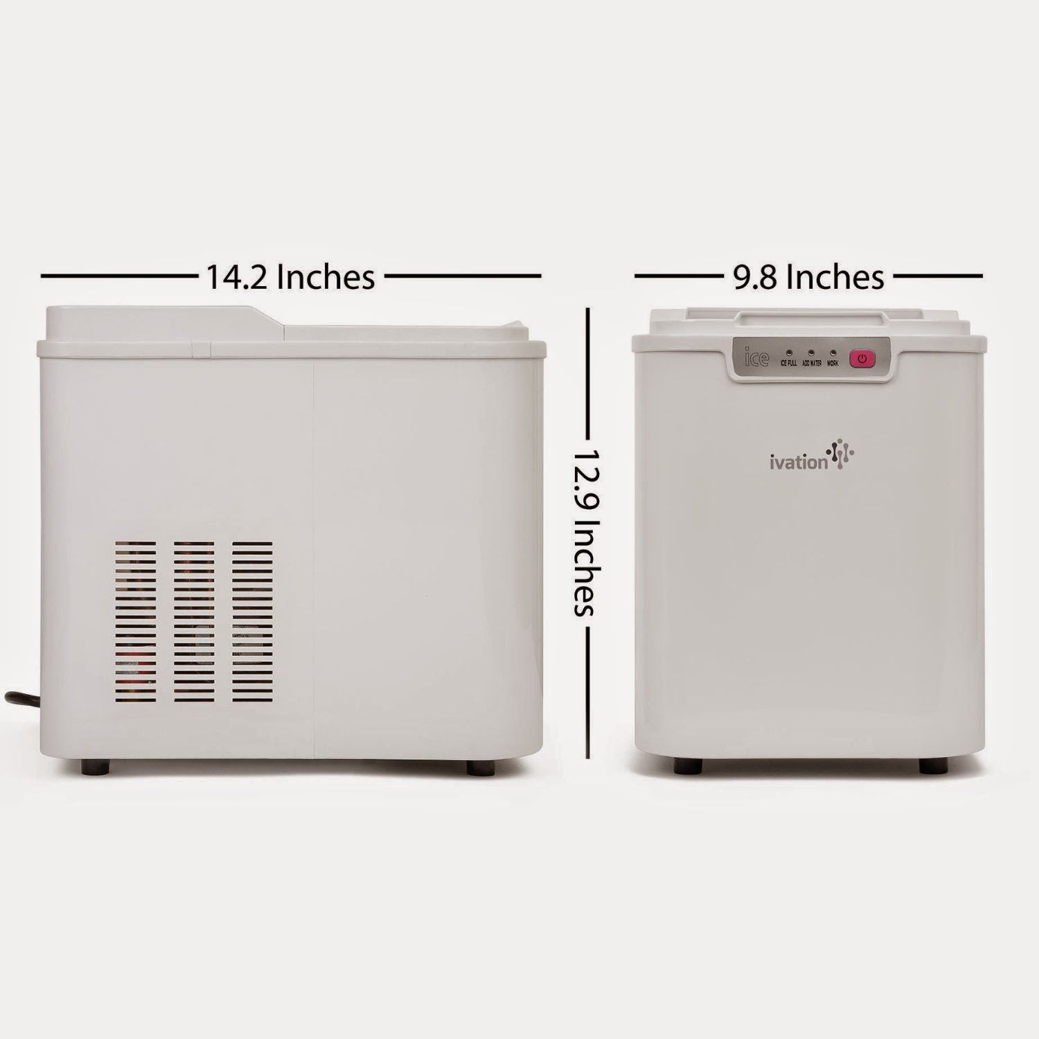 Ivation Portable Compact High Capacity Household Ice Maker - Features 2.2-Liter Water Reservoir - Yields up to 26.5 Pounds of Ice Daily