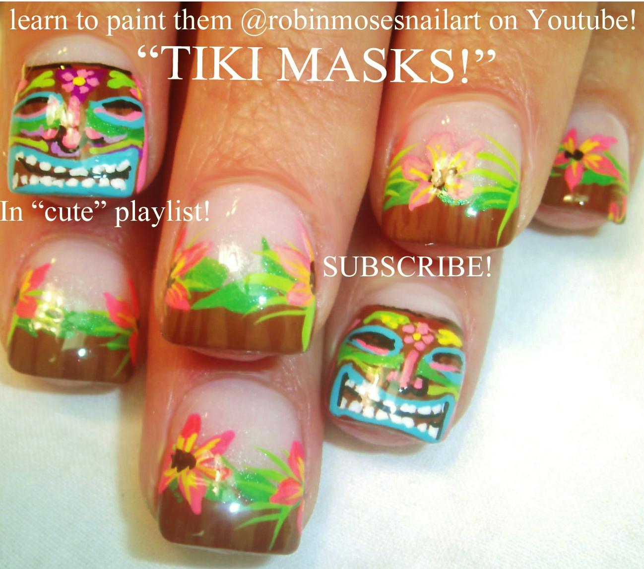 Nail Art by Robin Moses: tiki nail art, tiki god nails, totem nails ...