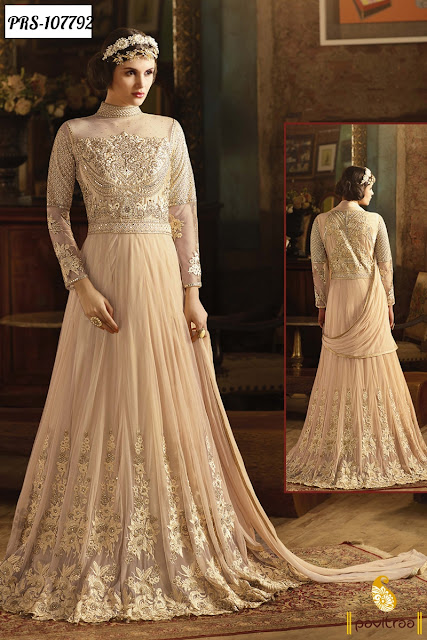 Heavy Work Floor Length Bridesmind Anarkali Dress for Bride Online Shopping with Price COD in India