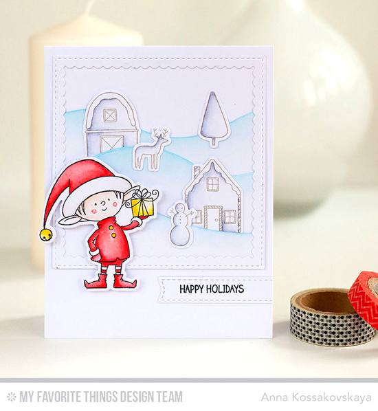 Handmade card from Anna Kossakovskaya featuring Winter Wonderland and Birdie Brown Santa's Elves stamp sets and Die-namics, Snow Drifts, Stitched Square Scallop Frames, and Blueprints 28 Die-namics #mftstamps
