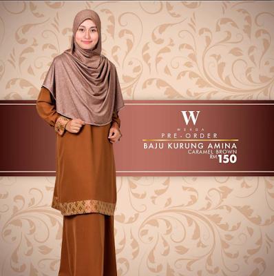 Baju Kurung Amina Caramel Brown