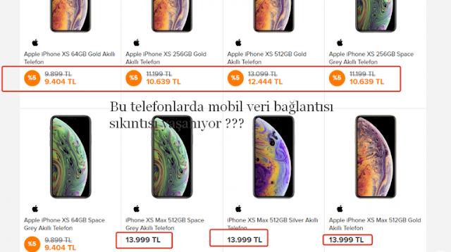 Apple Mobil veri Problemi sorunlari