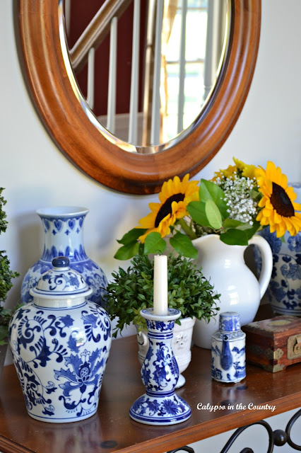 Blue and White Porcelain in the foyer