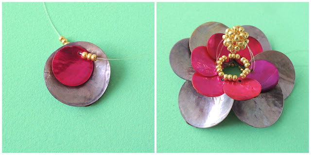 shell beads woven into a flower