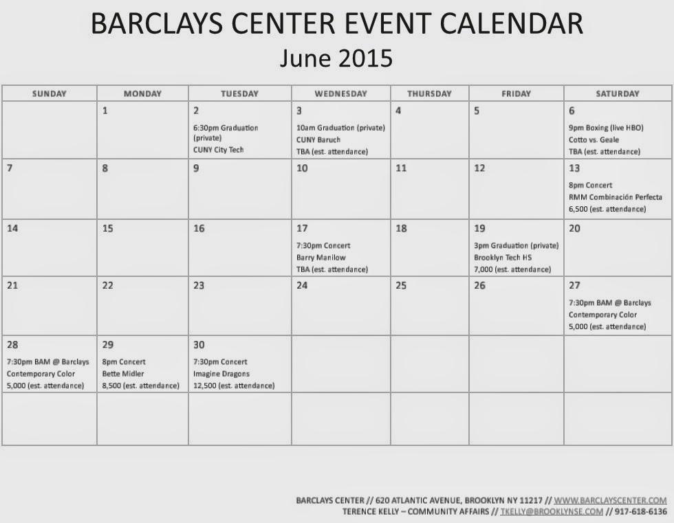 June Calendar Events : Barclays center updates event calendars for april june