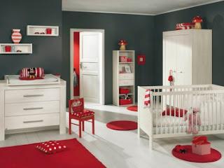 Dormitorio bebé gris rojo