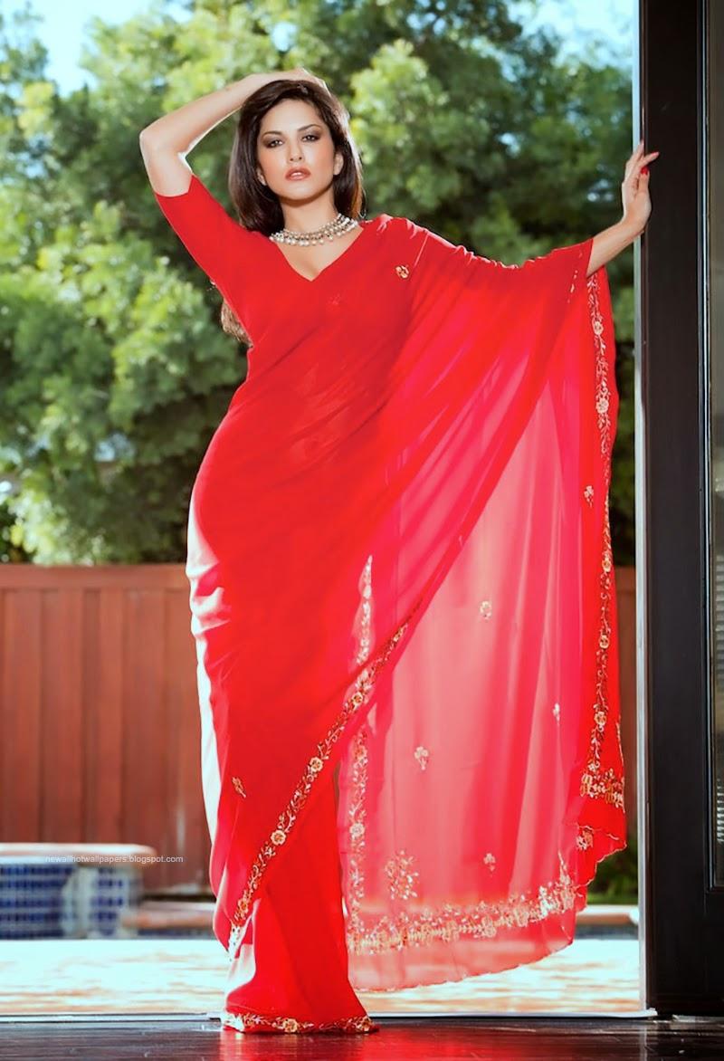 Sunny Leone Hot Wallpaper With Saree-9212