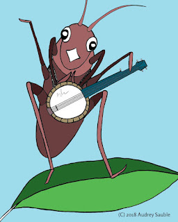 a cricket playing a banjo