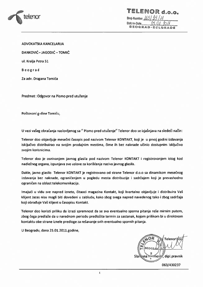 Letter Before Action >> Kontaktni Sport Sa Telenorom Contact Sports With Telenor