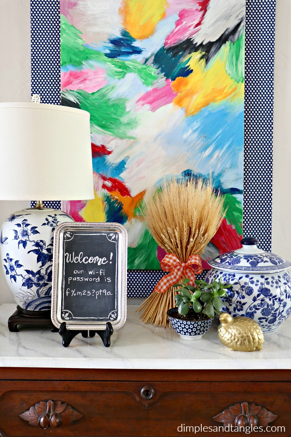 dollar tree, dollar store crafts, wifi password sign, diy chalkboard, chalkboard craft, blue and white lamp