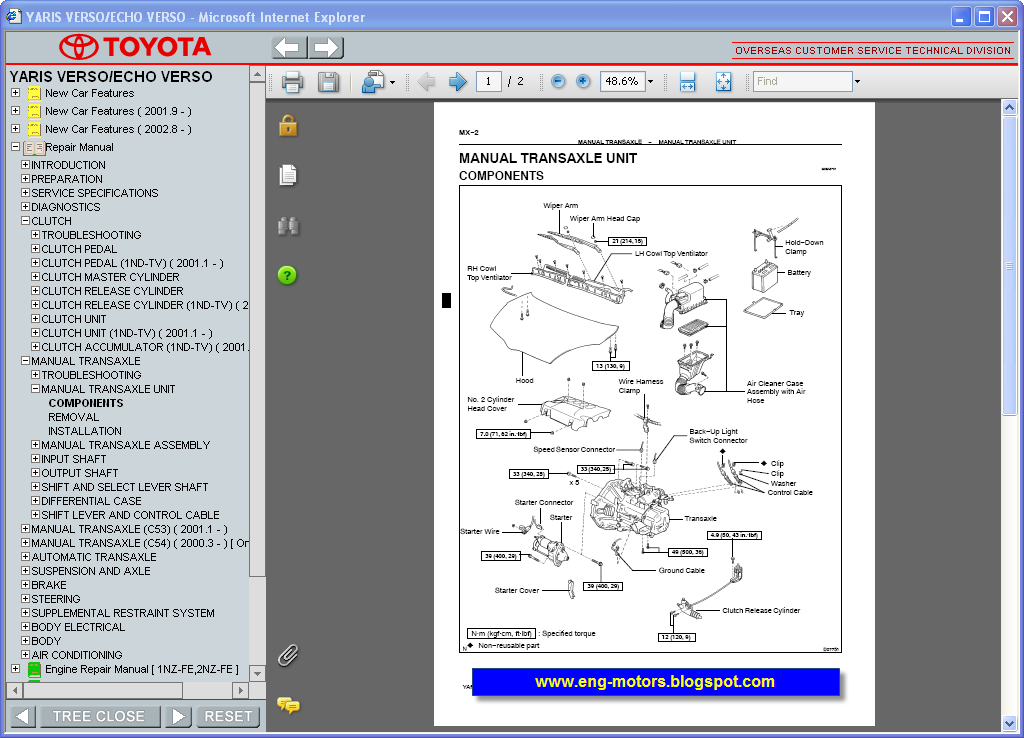 Toyota Yaris Verso Repair Manual  6 2006