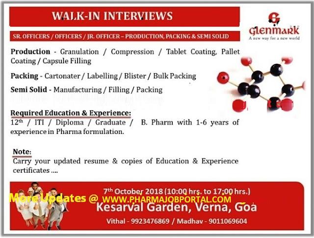 Glenmark Pharmaceuticals Ltd Walk-In Interviews for Multiple Positions at 7 October