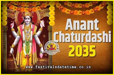 2035 Anant Chaturdashi Pooja Date and Time, 2035 Anant Chaturdashi Calendar