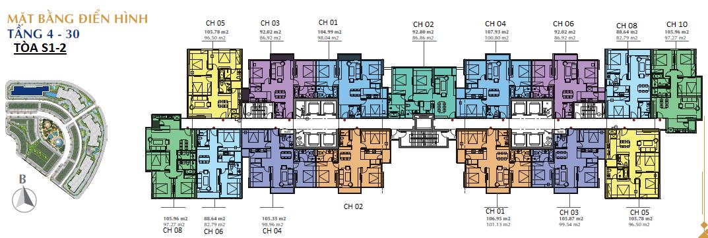 Mặt bằng điển hình tòa S1 và S2 chung cư Sunshine City